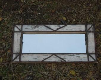 Beautiful Rustic Birch Bark Log Cabin Mirror Custom Work Available Upon Request