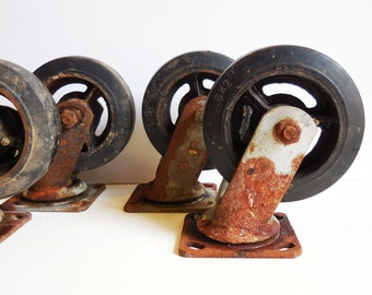 4 Vintage INDUSTRIAL CASTERS Large Machine Age Rustic Furniture - Cart - Swivel head 6 x 2 inch wheels farm salvage