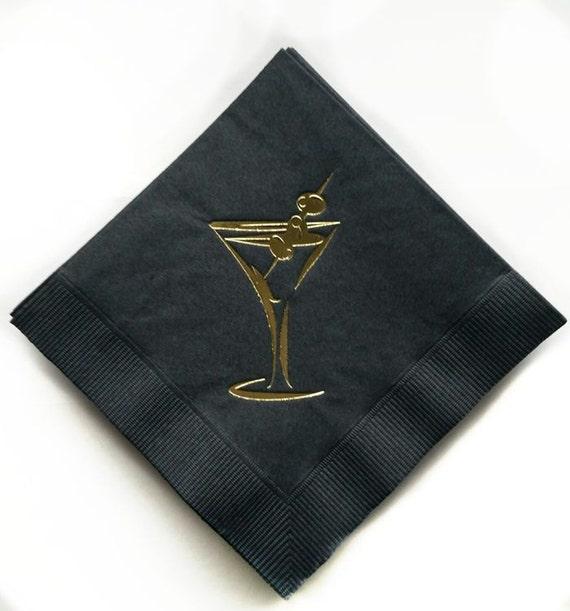 Black And Gold Beverage Napkins: Gold Foil Martini Glass Black Paper Cocktail Napkins 3