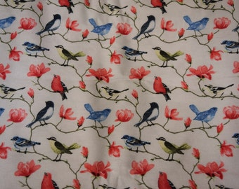 Flannel pants pajamas dorm lounge made to order your choice size XS - 2X Songbirds on flowered branches