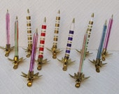 Lot of 11 Italian Glass Clip-On Candle Ornaments