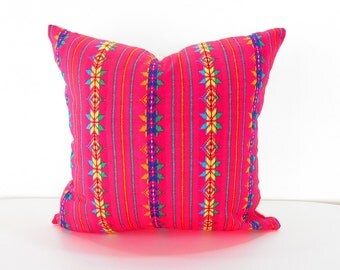 Pink Pillow cover 20x20, Tribal Pillows Covers, Bohemian Decor, Boho Bedding, Mexican Cushion, Square, tribal pillowcase, Christmas Present