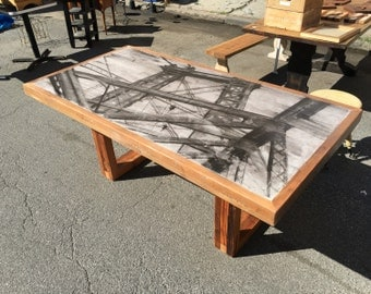Dining Table Concrete and Reclaimed Wood Table Hand Painted Brooklyn Table Ready To Ship Free Shipping