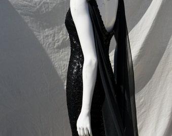 Vintage 60's Mod party cocktail dress all Black sequins LBD small Va Va Voom wiggle by thekaliman