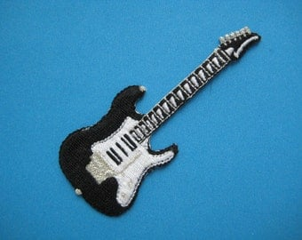 SALE~ Iron-on Embroidered Patch Pink Guitar (black) 3.25 inch