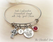 Irish Confirmation Holy Spirit Personalized Bangle - Initial Charm and Birthstone Crystal of Choice