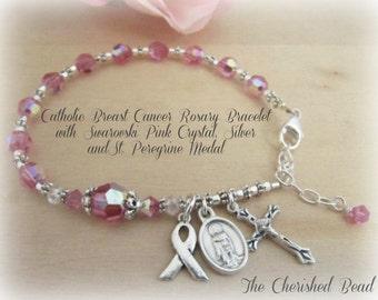 Catholic Breast Cancer Pink Swarovski Crystal Rosary Bracelet with Saint Peregrine Heal Cancer Medal