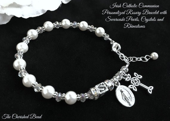 Personalized Irish Catholic Communion Pearl Crystal and Rhinestone Rosary with Letter Beads