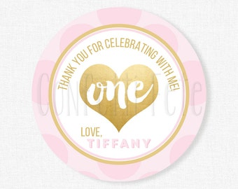 Pink and Gold Favor Tags, Gold Foil Tags, Girl Birthday Favors, Pink and Gold First Birthday, Personalized