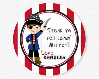 Pirate Tags, Pirate Party Favors, Pirate Birthday Tags, Pirate Favor Tags, Personalized