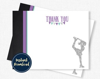Ice Skating Thank You Cards, Winter Birthday Thank You, Ice Skate Thank You Cards, Purple and Silver Printable INSTANT DOWNLOAD