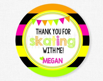 Roller Skating Favor Tags, Neon Skate Party Tags, Girl Birthday Favors, Retro 80's Skate Birthday Tag, Personalized