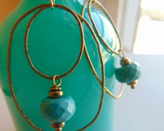 Ox Brass And Turquoise Earrings