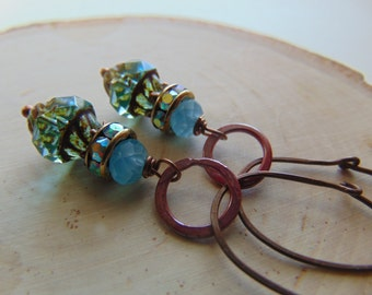 Ox Copper And Aqua Glass  Earrings