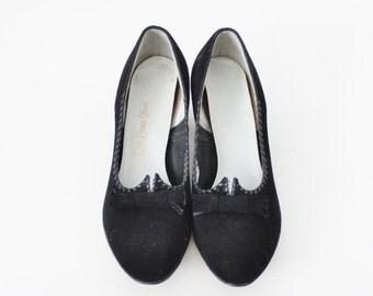 50% half off sale // Vintage 50s Red Cross Shoes - Black Heels - Women 6.5 Narrow, Suede Feel