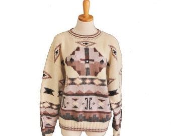 50% half off sale // Vintage 80s Geometric Sweater - Aztec - Men L - LL Bean Wool