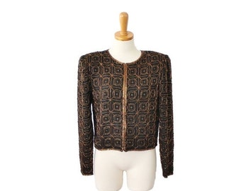30% off sale // Vintage 80s Gold and Black Beaded Silk Jacket - Women Small, Night Vogue, cropped fit