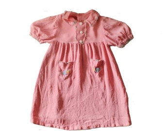 30% off sale // Vintage 30s Little Girl's Rayon PInk Embroidered Flower Dress - 18M