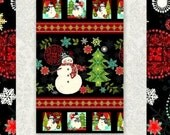 Easy Christmas Fabric Panel Quilt Kit Holly Jolly Snowman Quick Beginners