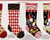 Christmas Quilt Fabric Panel S'Noel Snowman Stocking Pillow 1 Panel