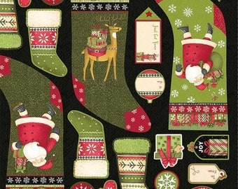 Christmas Quilt Fabric Panel Debbie Mum Santa Gifts Stocking