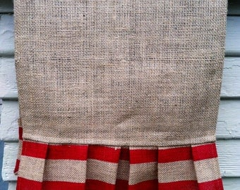 Burlap Table Runner - Double Stripes in red, 14 x 144 inches, best used for 11 ft. table