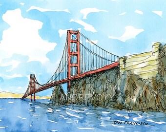 San Francisco Golden Gate Bridge 2nd art print from an original watercolor painting