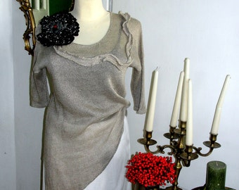TUNIC  LINEN  assymmetrical, color natural,  knitting tunic, plus size,DRESS linen ,
