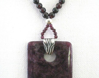 Garnet and Silver Necklace with Purple Jasper Pendant