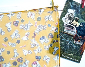 Vintage Sheer Scarf with Dalmatian Puppies on Bright Yellow