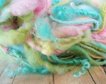 handspun messy lock art yarn wool with just a wee hint os gold angelina sparkle 38 yards pink lime aqua