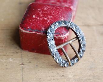Antique Victorian paste buckle ornament ∙ Victorian rhinestone buckle