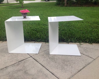 COOL HEAVY METAL Side Tables / Modern End Tables / Pair of White Metal C Shape Side Tables / Cantilever Shape tables at Retro Daisy Girl