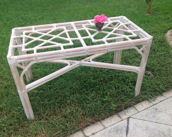 VINTAGE RATTAN FRETWORK Table / Fretwork Desk / Chippendale Style Fretwork Table / Console Hollywood Regency Style Desk at Retro Daisy Girl