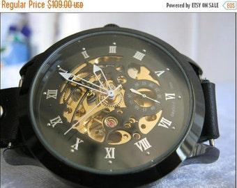 Skeleton Watch Steampunk Mechanical Bracelet Watch- brown Genuine leather band retro Watch- bracelet Cuff Watch- Men's Women's unisex watch