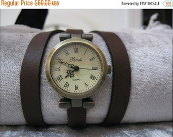 Watch wrap Wrapped Gold Leather Watch Leather Accessories - Wrist Watches - Leather Watches-Men's Women's Retro Watches-womens Floral watch