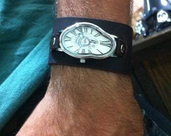 Leather watch for men Leather Cuff Watch Wrap Silver Wrap Watch Fluid Watch Handmade Retro Bracelet Wrap Leather Silver Watch Roman Numbers