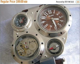 Army Military Steampunk Leather Wrap Watch Brown Leather Watch,Leather Watch band, Leather Watch, Leather, Silver Watch, Leather Wrist Watch
