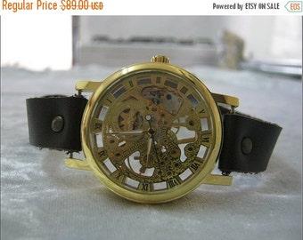 Skeleton Watch Steampunk Mechanical Bracelet Watch- brown Genuine leather retro Watch- bracelet Cuff Watch- Men's Women's unisex wrist watch