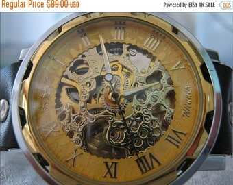 Steampunk golden Skeleton Leather Watch Mechanical Mens Mechanical wristwatch Steampunk Watch Black -Wrist Watch-Men's Women's Retro Watch