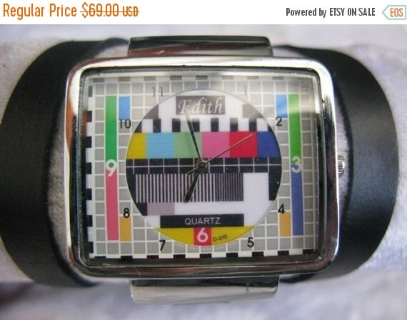 Leather Wrap Retro Watch Vintage square wrap bracelet silver leather watch with a lovely old television tv pattern Christmas Gift men women
