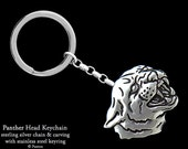 Panther Head Keychain / Keyring Sterling Silver Black Panther Key Chain