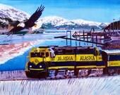 Alaska Railroad Train Art, Bald Eagle Print, Alaska Painting, Alaska Souvenir, Train Decor, Retirement Gift, Gift for Brother, Gift for Dad
