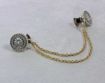 Silver and Gold Sweater Clip - Sweater Clip - Cinch Clip - Dress Clip - Collar Clip - Sweater Clip with Chain