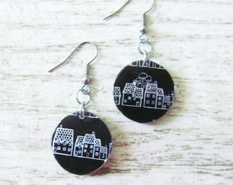 small resin earrings, 20mm, handmade, black, white, gray, house, with stainless hook