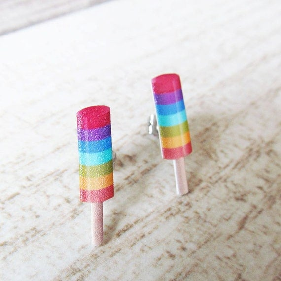 Small, popsicle, life savers, color, earrings, plastic, red, purple, blue, orange, yellow, green, stainless stud, handmade, les perles rares