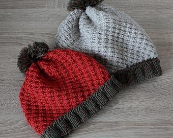 Knitting Pattern PDF file- Basket Diagonal Hat (sizes: baby to adult)