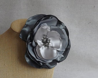 Flower Brooch or Fascinator in Grey Ombre