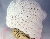 RTS WHITE 6-9 MO Crochet Baby Bonnet - baby hat lacy crochet bonnet baptismal bonnet christening cap knit wear traditional bonnet