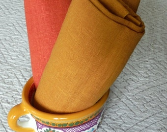 Pure LINEN fabric spicy colors ecofriendly sewing supplies home decor from MyGypsyCottage on Etsy
